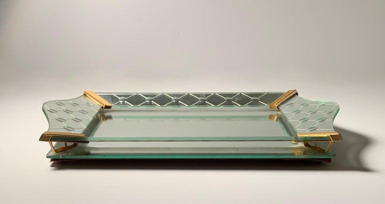 Mid-Century Modern Vintage Italian Mirrored Vanity Tray For Sale
