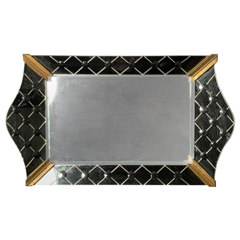 Vintage Italian Mirrored Vanity Tray For Sale