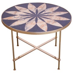 Vintage Italian Modern Round Brass Side Table with Floral Design