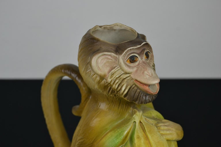 Modern Vintage Italian Monkey Pitcher with Bananas For Sale