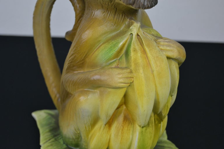 Hand-Painted Vintage Italian Monkey Pitcher with Bananas For Sale