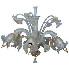 Vintage Italian Mouth Blown Opalescent Venetian Murano Glass Floral Chandelier