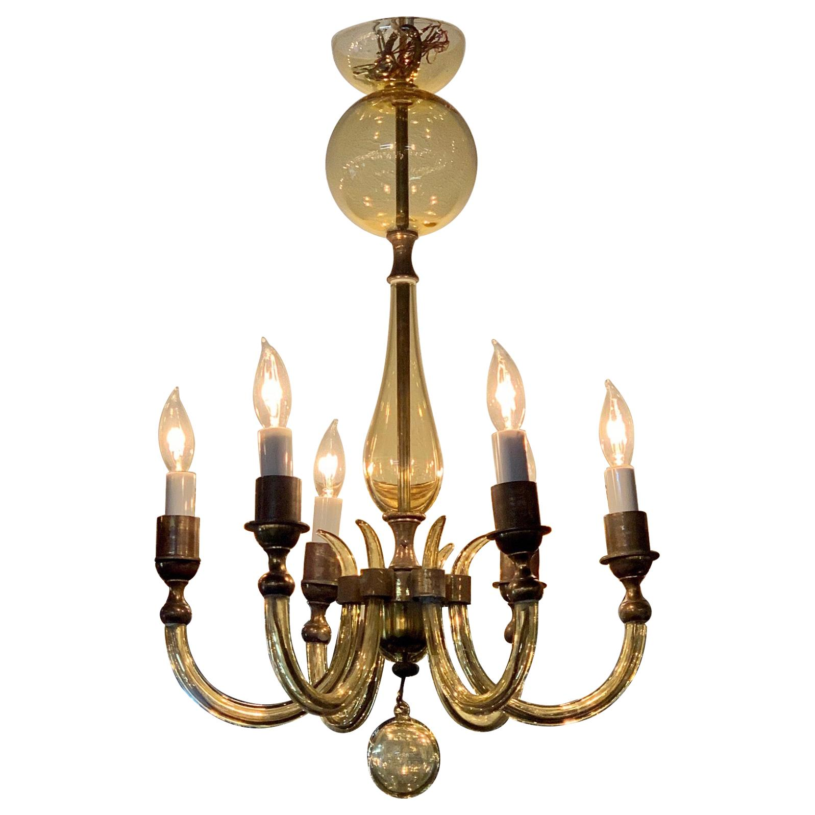 Vintage Italian Murano Glass and Brass 6-Light Chandelier