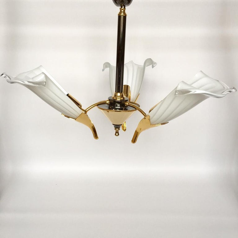 Hollywood Regency Vintage Italian Murano Glass Chandelier and Table Lamp by Franco Luce, 1970s For Sale
