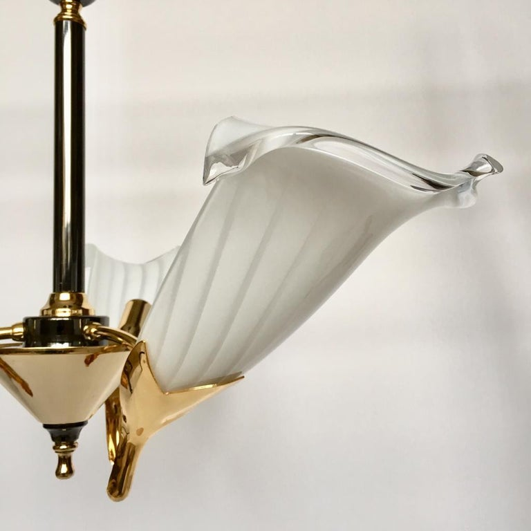 Gilt Vintage Italian Murano Glass Chandelier and Table Lamp by Franco Luce, 1970s For Sale