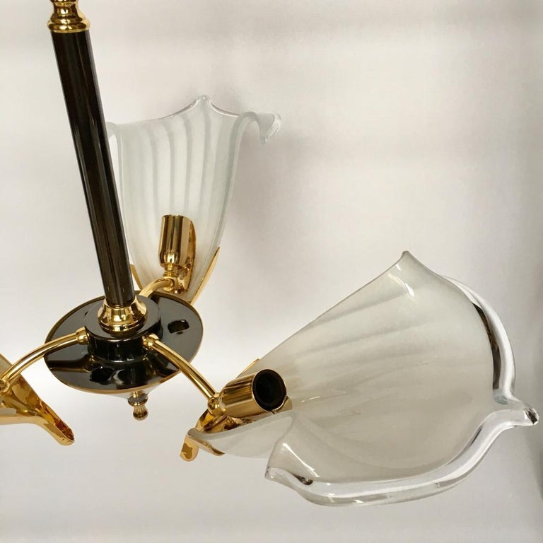 Late 20th Century Vintage Italian Murano Glass Chandelier and Table Lamp by Franco Luce, 1970s For Sale
