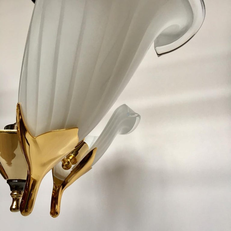 Vintage Italian Murano Glass Chandelier and Table Lamp by Franco Luce, 1970s For Sale 1