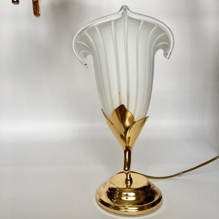 Vintage Italian Murano Glass Chandelier and Table Lamp by Franco Luce, 1970s For Sale 2