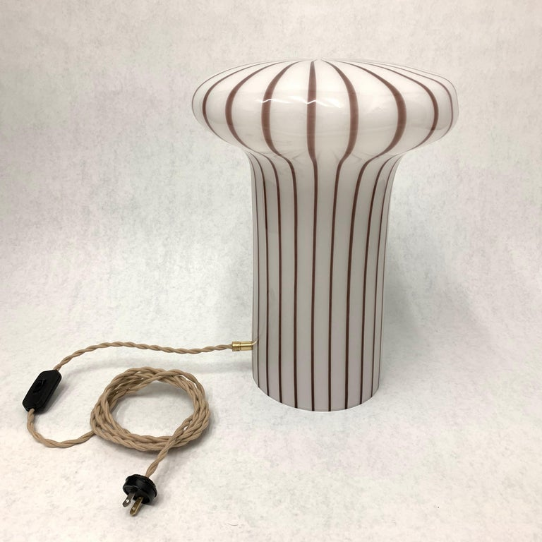 Vintage Italian Murano Glass Funghi Table Lamp For Sale 2