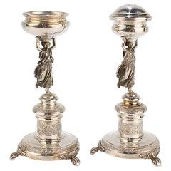 Vintage Italian Neoclassical Figural 800 Silver Pedestal Salt & Pepper Shaker