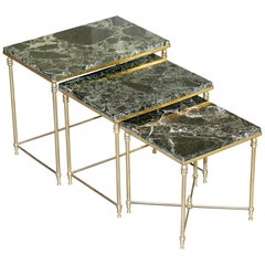 Vintage Italian Nest of Three Tables circa 1940s Brass with Thick Marble Top