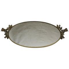 Vintage Italian Oval Brass Vanity Tray