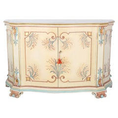 Vintage Italian Painted and Gilt Serpentine Two-Door Cabinet