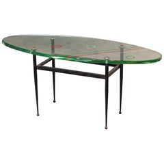 Vintage Italian Painted Glass Oval Iron Base Coffee Table, circa 1960