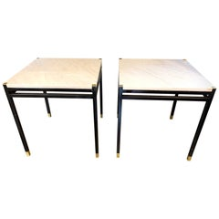 Vintage Italian Painted Steel and Brass Tables with Onyx Tops