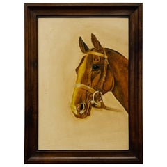 Vintage Italian Painting with Bay Horse