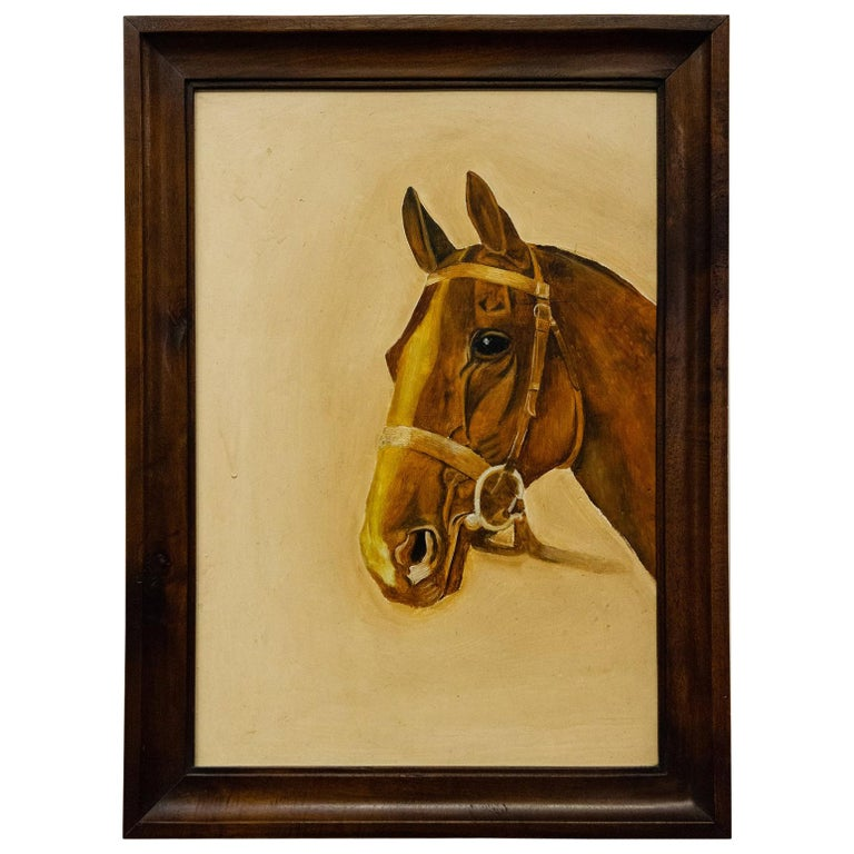 Vintage Italian Painting with Bay Horse For Sale
