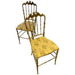 Vintage Italian Pair of Brass Chiavari Balroom Chairs