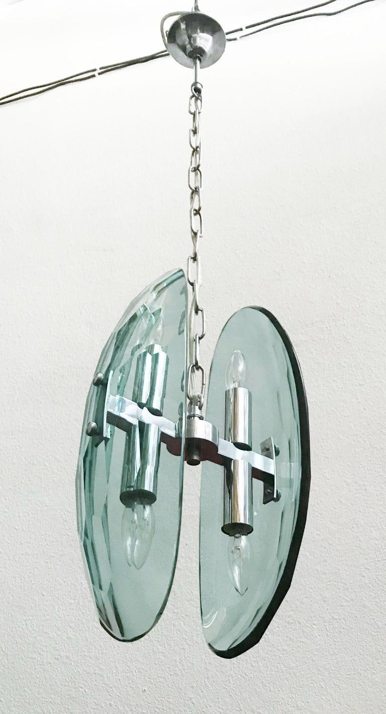 Vintage Italian Pendant w/ Beveled Glass by Max Ingrand for Fontana Arte, 1960s. In Good Condition For Sale In Los Angeles, CA