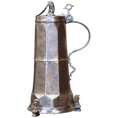 Vintage Italian Pewter Beer Stein with Lion Motifs and Engraved Decor