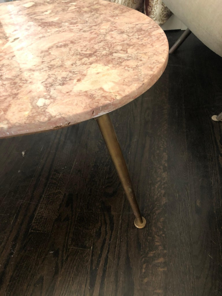 Mid-20th Century Vintage Italian Pink Marble Coffee Table For Sale
