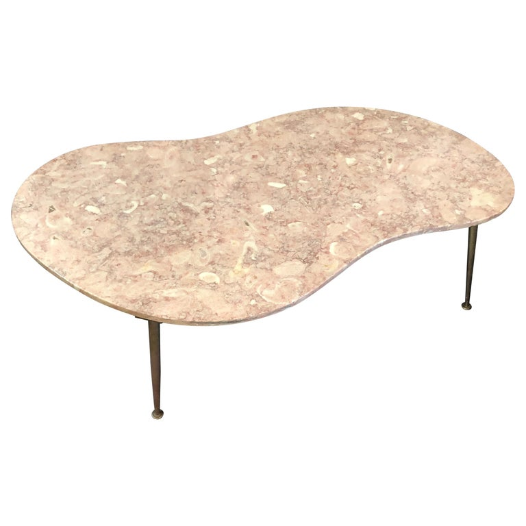 Vintage Italian Pink Marble Coffee Table For Sale