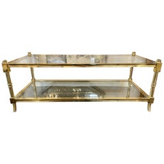 Vintage Italian Polished Brass 2-Tier Coffee Table