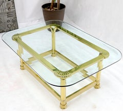 Vintage Italian Polished Brass Base Glass Top Coffee Table Rounded Scallop