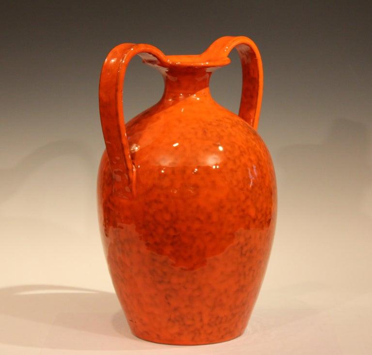 Mid-Century Modern Vintage Italian Pottery Bright Atomic Orange Italica Ars Rosenthal-Netter Vase For Sale