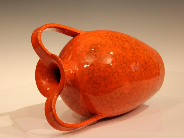 Turned Vintage Italian Pottery Bright Atomic Orange Italica Ars Rosenthal-Netter Vase For Sale
