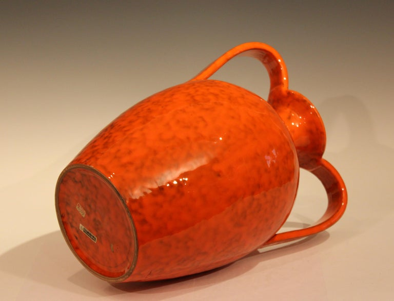 Vintage Italian Pottery Bright Atomic Orange Italica Ars Rosenthal-Netter Vase In Excellent Condition For Sale In Wilton, CT