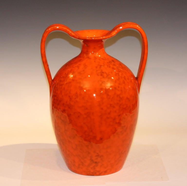 Vintage Italian Pottery Bright Atomic Orange Italica Ars Rosenthal-Netter Vase For Sale 1