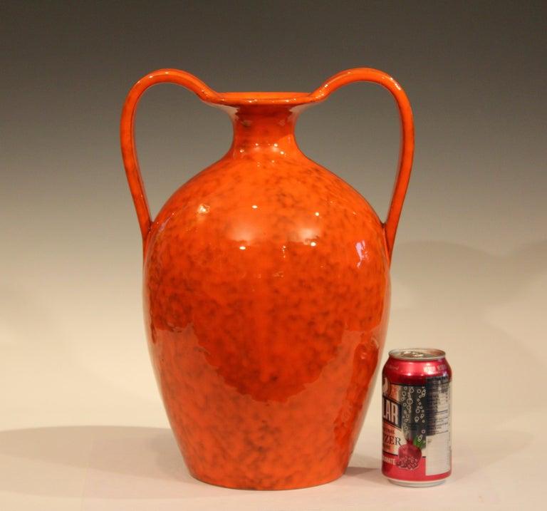 Vintage Italian Pottery Bright Atomic Orange Italica Ars Rosenthal-Netter Vase For Sale 2