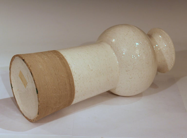 Folk Art Vintage Italian Pottery Raymor TUD Incised Bitossi Gray White Ceramic Vase