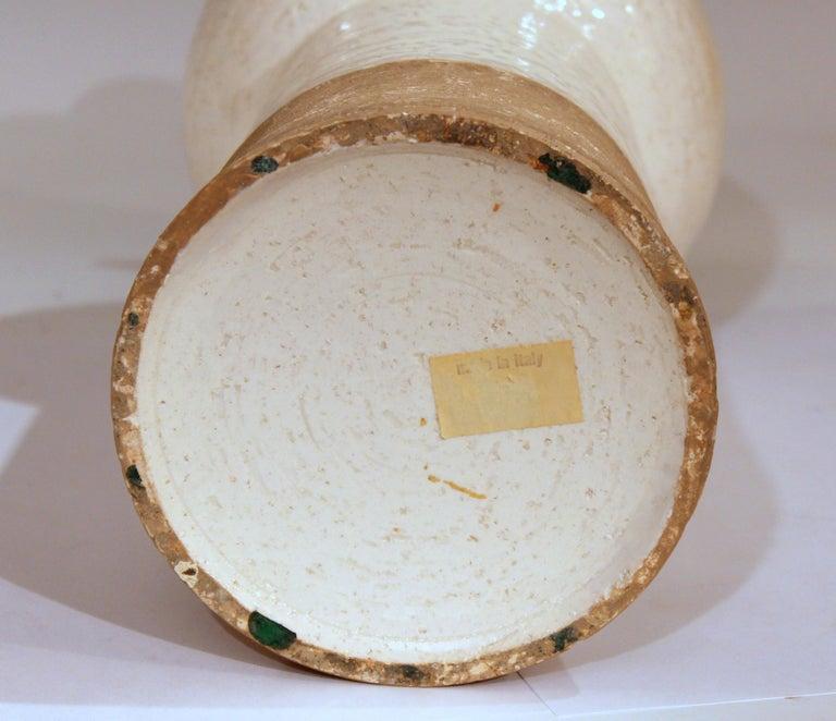American Vintage Italian Pottery Raymor TUD Incised Bitossi Gray White Ceramic Vase