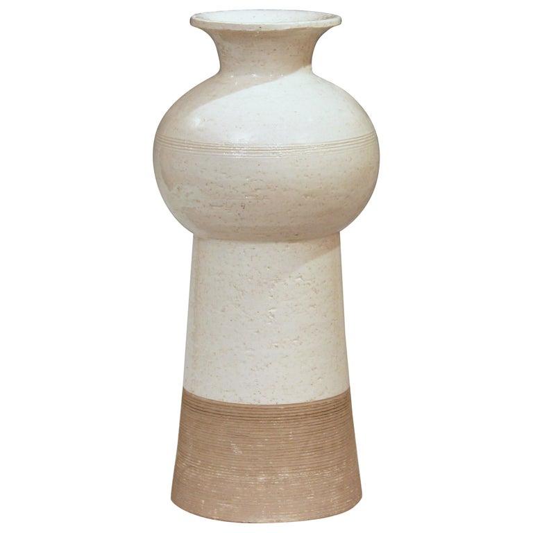 Vintage Italian Pottery Raymor TUD Incised Bitossi Gray White Ceramic Vase