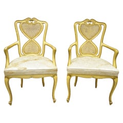 Vintage Italian Provincial French Louis XV Yellow Cane Back Dining Armchairs