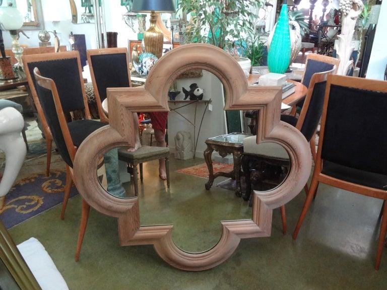 Large Italian Quatrefoil Wood Mirror For Sale 2