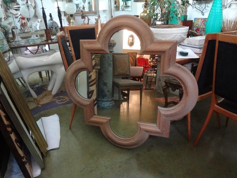 Large Italian Quatrefoil Wood Mirror For Sale 3