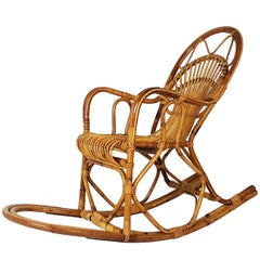 Vintage Italian Rattan 1960s Rocking Chair Attributed to Bonacina