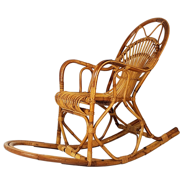 Vintage Italian Rattan 1960s Rocking Chair