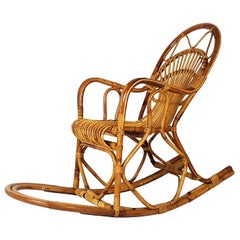 Vintage Italian Rattan 1960s Rocking Chair