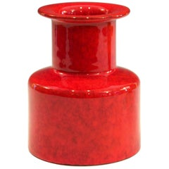 Vintage Italian Raymor Vase Chrome Red Art Pottery Bright Atomic Italica Ars