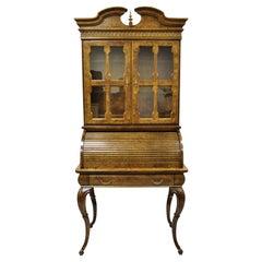 Vintage Italian Regency Burlwood Laminate Saber Leg Tall Secretary Desk Display