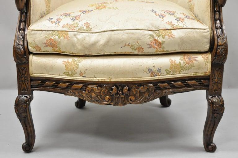 Vintage Italian Regency Style Rams Head Carved Walnut Wingback Bergere Arm Chair For Sale 5