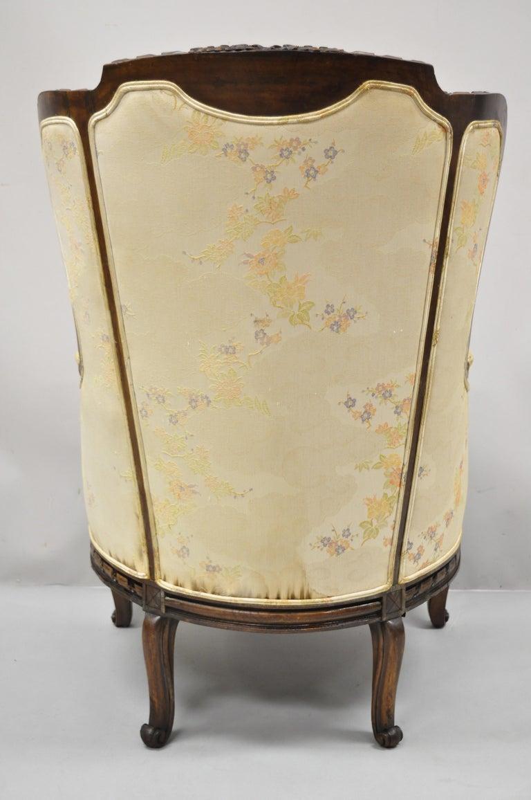 Vintage Italian Regency Style Rams Head Carved Walnut Wingback Bergere Arm Chair For Sale 6