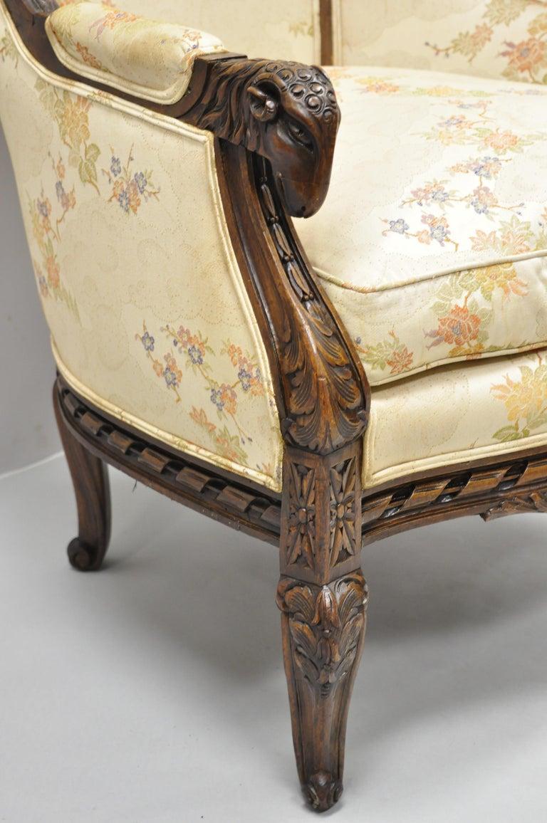Vintage Italian Regency Style Rams Head Carved Walnut Wingback Bergere Arm Chair For Sale 7