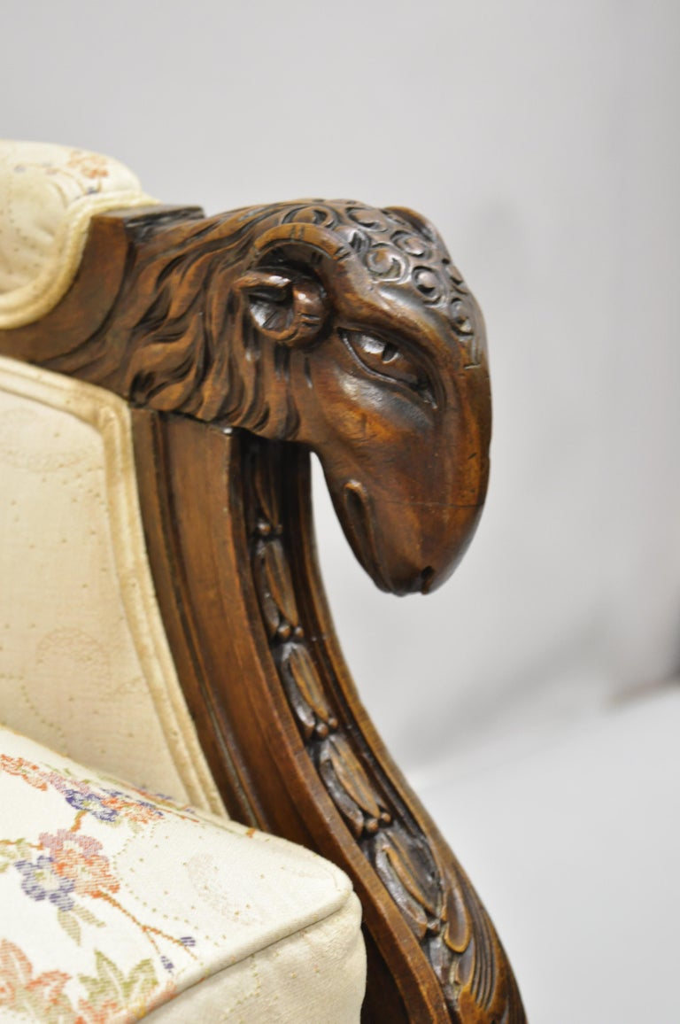20th Century Vintage Italian Regency Style Rams Head Carved Walnut Wingback Bergere Arm Chair For Sale