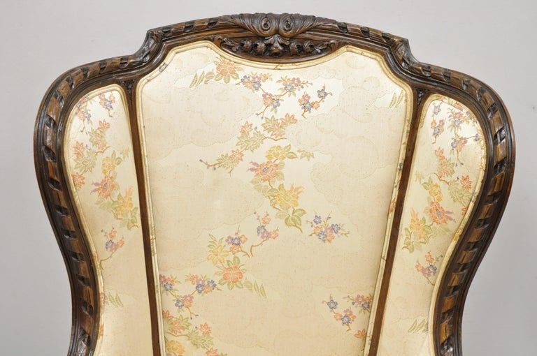Fabric Vintage Italian Regency Style Rams Head Carved Walnut Wingback Bergere Arm Chair For Sale