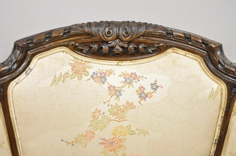 Vintage Italian Regency Style Rams Head Carved Walnut Wingback Bergere Arm Chair For Sale 1